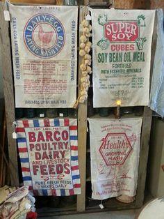 feed sacks Farmhouse Bedroom Furniture, Farmhouse Decor, Feed Bags, Seaside Decor, Grain Sack, Ticking Stripe, Antique Decor, Cool Fonts, Tea Towels