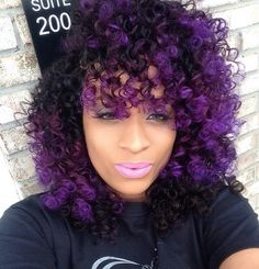 Purple Wig with Curls and Ombre Color