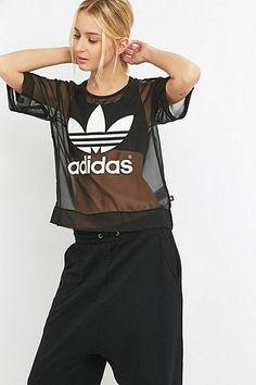 adidas Black Mesh Trefoil T-shirt