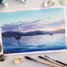 """468 Likes, 23 Comments - Tatiana, Moscow, Watercolor (@tatka_o) on Instagram: """"The magical sunset. Croatia. Paintings from my own photo and memories.  For sale. Direct.…"""""""