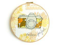 Embroidery Hoop Art - Vintage Camera Textile Artwork in yellow & green - 8 hoop via Etsy