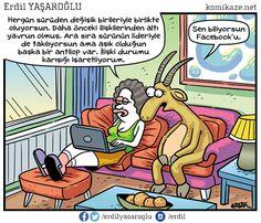 - Her gün sürüden değişik birileriyle birlikte oluyorsun. Daha önceki ilişkilerinden altı yavrun olmuş. Ara sıra sürünün lideriyle de takılıyorsun ama aşık olduğun başka bir antilop var. İlişki durumu karışığı işaretliyorum. + Sen biliyorsun Facebook'u.  #karikatür #mizah #matrak #komik #espri #komik #şaka #gırgır #komiksözler Comic Books, Cover, Facebook, Cartoons, Comics, Comic Book, Graphic Novels, Comic