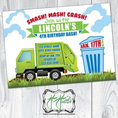Garbage truck invitation truck invitation garbage truck birthday garbage truck birthday invitation trash smash mash crash red blue green boys birthday party digital file filmwisefo Image collections