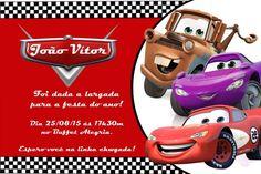 Convite digital personalizado Carros da Disney 001