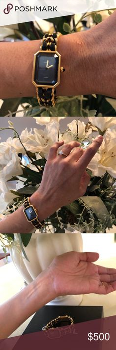 Authentic CHANEL Ladies Watch [New Battery Needed] My very first CHANEL. Purchased in Tokyo, two decades ago, where I am from. Vintage. I am getting married and need cash to start our new lives. Therefore;  NO TRADE please; NO OFFERS please. The price is a steal. Battery needs to be changed. Leather has tears and wears. See the last photo. These two leather strings are out of hardware but They can be tacked in. Gold hardware is in perfectly working condition. CHANEL Accessories Watches