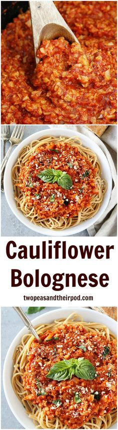 Cauliflower Bolognese Sauce Recipe on http://twopeasandtheirpod.com. You will never believe this healthy and hearty sauce is made with cauliflower. Even meat lovers and kids enjoy this delicious sauce! You have to try it!