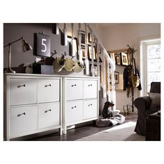 HEMNES Shoe cabinet with 4 compartments, white, 42 A place to organize and store all your shoes, making life on the go a little easier. The simple, classical design with a touch of tradition looks great with other furniture in the HEMNES series. Ikea Shoe Storage, Small Storage, Hallway Storage, Ikea Hemnes Shoe Cabinet, Design Simples, Ikea Cabinets, Floor Space, Drawer Fronts, Particle Board