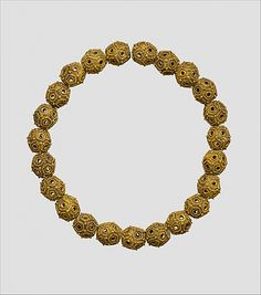 Necklace ~ Iran   11th–12th century    Gold (sheet); granulation and twisted wire