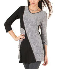 This Gray & Black Diamond Three-Quarter Sleeve Tunic is perfect! #zulilyfinds
