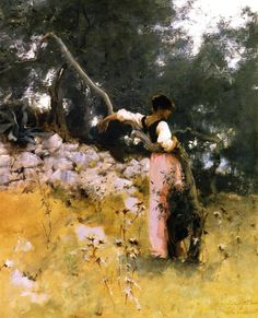 Rosina, Capri, John Singer Sargent     앞의 그림과 똑같은 옷과 몸의 곡선으로 보아 이 여성도 로시나임을 알 수 있다. 앞의 그림보다는 정적인 분위기이지만 금방이라도 저 나무줄기를 감싸며 춤이 시작될 것만 같다. 살랑이는 나뭇잎와 꽃들은 그녀의 손짓, 발짓 사이에서 자연스럽고 아름다운 풍경을 자아낼 것이다.