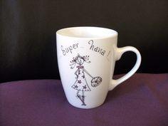 """Mug personnalisé """"super nana chic"""", porcelaine , original, unique et humoristique : Vaisselle, verres par atelier-brigittelaplanche"""