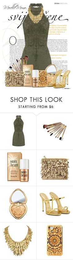 """""""Golden Gem"""" by morellemomo ❤ liked on Polyvore featuring Forest of Chintz, Too Faced Cosmetics, Giuseppe Zanotti and Felony Case"""