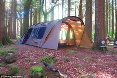The large six-person tent has an uninsulated porch and lounge while the sleeping area is insulated to keep campers warm at night and can be split into rooms for families