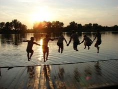 #PANDORAloves... Group of friends jumping off a dock at sunset #friendship