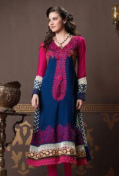 Pink & Blue Georgette #Salwar #Kameez  #DesiStyle #Indianfashion #Bollywood