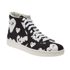 Comme Des Garçons Play 'Pro Star Hi' sneakers ($155) ❤ liked on Polyvore featuring shoes, sneakers, black, black shoes, heart shoes, round cap, laced sneakers and canvas sneakers