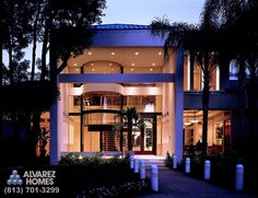 The Crystal Contemporary Custom Home by Alvarez Homes (813) 701-3299. Gorgeous contemporary house of glass!  http://www.alvarezhomes.com/tampa-home-builders-portfolio-of-homes/the-crystal