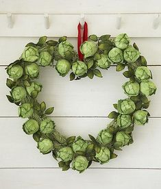 Brussel Sprout Heart Shaped Wreath