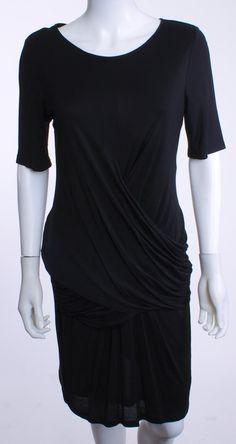 BURBERRY BRIT ROUND NECK SHORT SLEEVE KNIT BLACK DRESS SZ 08 – London Couture #lbd