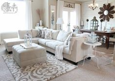 Rug over Carpet, living room to fake a clean house in 20 minutes. Living Room Carpet, Rugs In Living Room, Home And Living, Living Area, Living Room Furniture, Living Room Decor, Room Rugs, Small Living, Furniture Layout