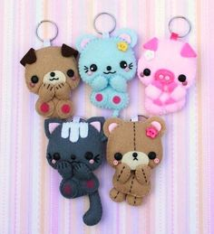 keychain kawaii - these are made from felt but they are great inspiration for polymer clay.