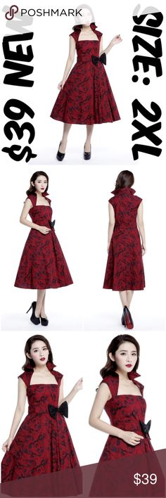 """Bow Pin Up Clothing Dress 1950s Style Size 2XL Red Pin Up Dress ▶NEW WITHOUT TAGS ▶SIDE ZIPPER ▶MATERIAL: 95% COTTON AND 5% SPANDEX ▶BUST: 42"""" ▶WAIST: 34"""" ▶LENGTH: 44"""" ▶TAG SIZE IS EUROPEAN 44 WHICH IS US 2XL ▶#C16 Dresses"""