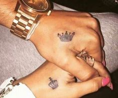 Top Matching Tattoos for Couples with Latest King and Queen Tattoo designs. We have given you some best ideas to ink your body. Queen Crown Tattoo, Small Crown Tattoo, King Queen Tattoo, Crown Tattoo On Hand, Crown Tattoo Design, Hand Tats, Tattoos For Lovers, Bff Tattoos, Dope Tattoos
