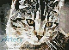 Mini Cute Cat Cross Stitch Pattern
