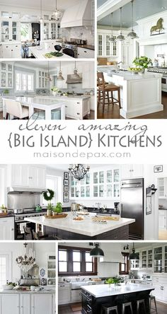 Big Kitchen Island Ideas - I love a big Island and these are beautiful kitchen designs around them.