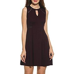 ACEVOG Women's Sleeveless A-line Lace Stitching Evening Party Cocktail Dress (Large, Dark Brown) Dresses For Teens, Casual Dresses, Summer Dresses, Women's Dresses, Dress Outfits, Fashion Dresses, Cocktail Dresses Online, Nordstrom Dresses, Fit Flare Dress