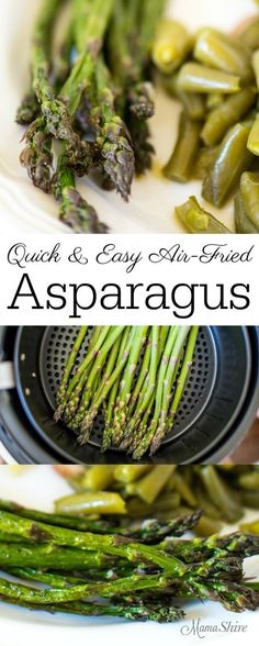 Quick and easy Air-Fried Asparagus. Just a few minutes and you can have a tasty side of asparagus with little effort and easy cleanup. Low-carb, THM-FP Best Picture For air frying pork chops For Your Air Fryer Recipes Asparagus, Air Fryer Recipes Potatoes, Air Fryer Recipes Vegetables, Air Fryer Oven Recipes, Asparagus Fries, Veggies, Fried Vegetables, Healthy Vegetables, Air Fryer Recipes Gluten Free