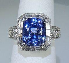 Ceylon Sapphire ring 6.17cts/ 3.50cts of diamonds.