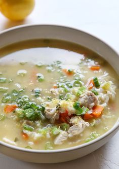Spoiler: Chicken soup is way more comforting when it doesn't come out of a can. Get the recipe: Lemon Chicken and Rice Soup Lemon Chicken Rice Soup, Chicken Soup Recipes, Chicken Soups, Chicken Avacado, Vegetarian Chicken, Recipe Chicken, Healthy Chicken, Fall Soup Recipes, Dinner Recipes