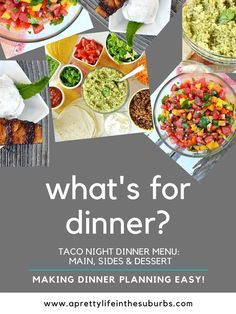 What's For Dinner? Don't worry, I've got you covered with this Taco Night Menu! A simple and fun dinner everyone will love! Homemade Salsa, Homemade Taco Seasoning, Dessert For Dinner, Dinner Menu, Taco Side Dishes, Taco Spice, Ground Beef Tacos, Desserts Menu, Fresh Salsa