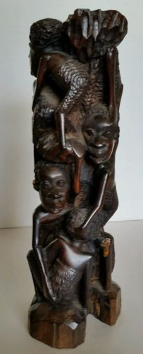 Vtg African Family Tree Of Life Sculpture Makonde Ebony Wood Carving Art 9.5