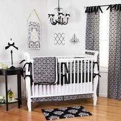 Black Damask Crib Bedding   Gender Neutral Black and White Damask Pattern Baby Bedding   Carousel Designs