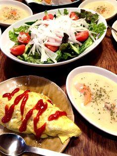 子供大好きメニュー!大根の切り方が大きい…(´ω`;) - 6件のもぐもぐ - オムライス・クリームシチュー・大根サラダ by nicochan715