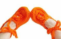 Orange Crochet slippers Women wraparound wrist slippers House shoes Gift ideas for her Pompoms house slippers (27.00 USD) by aynikki