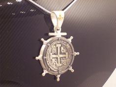 ATOCHA COIN  Gold 18 K solid Silver 925 SHIP Weel, Silver Atocha Coin, Silver Nautical  Pendant on Etsy, $155.00