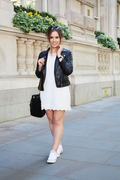 Leather / Jacket / White / Lace / Dress / H&M / CONVERSE / Style / Casual / Spring / Summer / Hello October