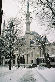Blue Mosque in Snow, Istanbul, Turkey