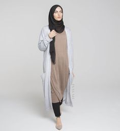 INAYAH | Modest everyday essentials - Our Mushroom High Neck #Jumper with our Chalk Maxi #Cardigan and Black Modal #Hijab - www.inayah.co