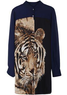 Blusa larga gasa Tigre manga larga-Azul EUR€22.97