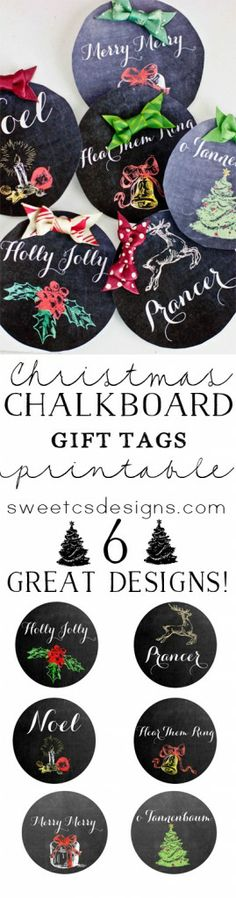 Chalkboard Christmas Gift Tag Printables - just print, cut and add to gifts!