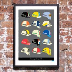 Cycling Art Print, Classic Cycling Caps Print (Large)