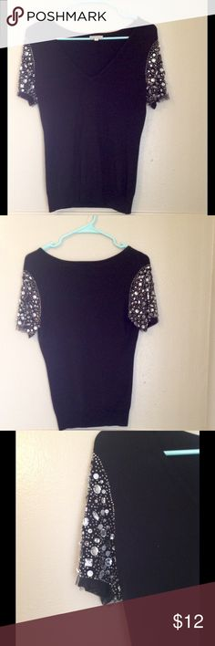 Jeweled Sleeve Top Black v-neck tee with jeweled sleeves! By Boston Proper. Size small. Boston Proper Tops Tees - Short Sleeve