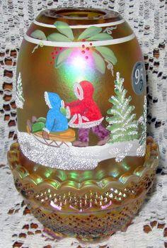 Lot #217-Hand Painted Fenton Fairy Lamp    www.mclarenauction.com