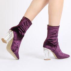 Chloe Perspex Heeled Ankle Boots in Purple Velvet