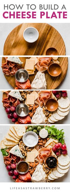 How to Make a Cheese Plate with step by step instructions and photos! It's easy to make a gorgeous cheese plate presentation with a few simple ideas. This appetizer can be vegetarian or rounded out with meat sausage and other charcuterie. Cheese Platter Board, Meat Platter, Food Platters, Cheese Platters, Cheese Platter How To Make A, Cheese Boards, Simple Cheese Platter, Charcuterie Plate, Charcuterie And Cheese Board