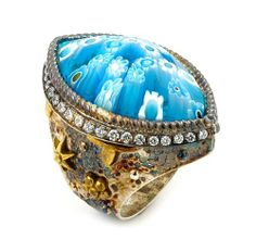 Signature Collection Faceted Blue Murano Glass Marquise Ring With Copper And Signity Cz Accents Signature Collection by Alan K.. $297.44